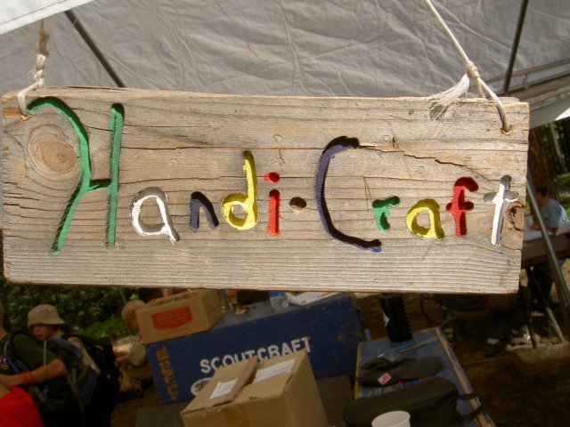 thehandicraftareawhereindianlorewoodcarvingbasketryandleatherworkmeritbadgesearned