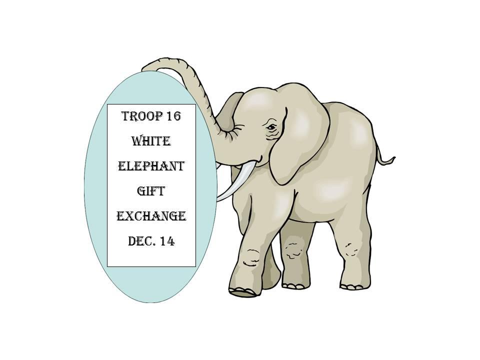 White Elephant Gift Exchange Logo hold a White Elephant Gift